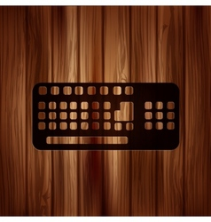 Computer keyboard web icon wooden texture vector