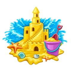 Sand castle with childs toys vector