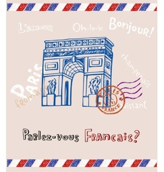 Paris post card vector image