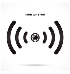 Hot coffee cup and wifi sign vector image