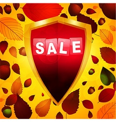 Autumn sale label over a shield vector