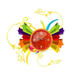red clock on the stars vector image
