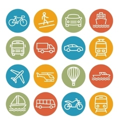Transport line icons vector