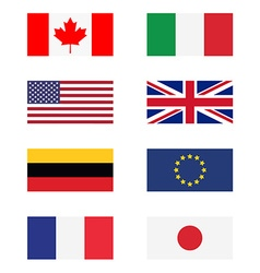G8 countries flags vector