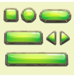 Set of cartoon green buttons vector