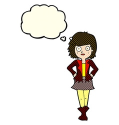 Cartoon girl in jacket with thought bubble vector