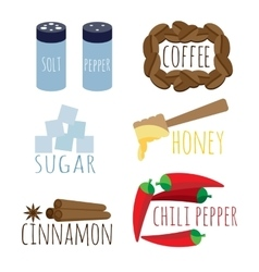 Set of spices coffee sugar honey vector
