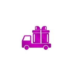 Truck with a gift icon vector