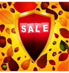 Autumn sale label over a shield vector