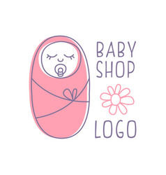 Baby shop logo design emblem with sleeping vector