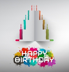 Birthday paper cut cake with colorful splashes and vector