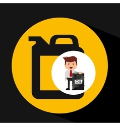 Businessman oil industry barrel gallon vector