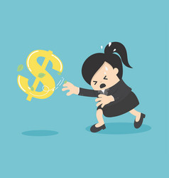cartoon business woman chasing symbol money style vector image vector image