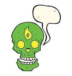 Cartoon mystic skull with speech bubble vector