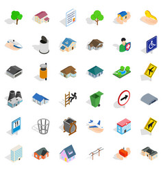 City park icons set isometric style vector