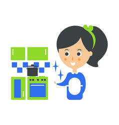 cleanup service maid and clean kitchen cleaning vector image