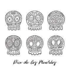 Day of the dead sugar skulls set mexican vector