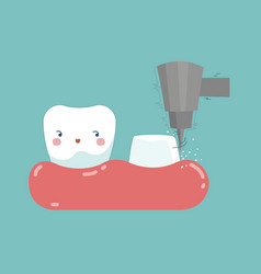 Dental crown installation process tooth and teet vector
