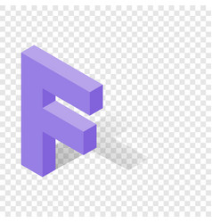 F letter in isometric 3d style with shadow vector
