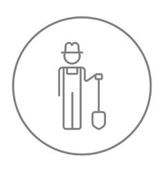 Farmer with shovel line icon vector