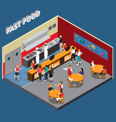 fast food restaurant isometric vector image vector image