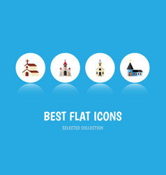 Flat icon church set of christian religion vector