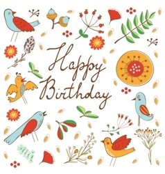 Happy Birthday card with flowers and birds vector image vector image