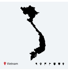 High detailed map of Vietnam with navigation pins vector image