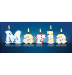 Maria written with burning candles vector
