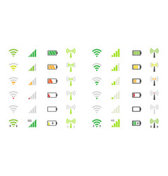 mobile phone system icons wifi signal strength vector image vector image