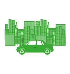 Monochrome background with city buildings and car vector