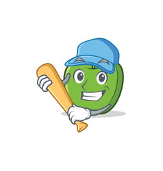Playing baseball green apple character cartoon vector