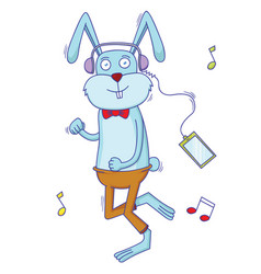 rabbit listening to the music vector image vector image