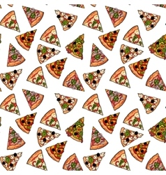 Seamless pattern of various pizza slices vector image