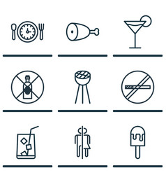 Set of 9 food icons includes no drinking stop vector