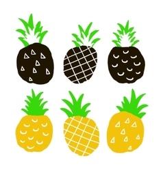 Set of hand drawn ananas vector