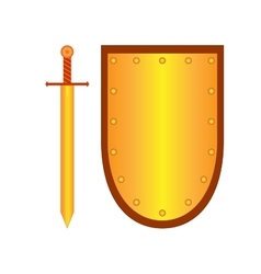Set of sign shield and sword gold 2308 vector image vector image
