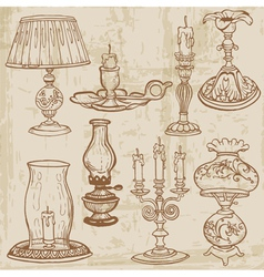 set of vintage lamps and candles vector image vector image