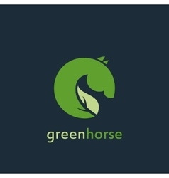 sign or logo green horse vector image