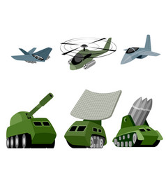 Six military vehicle vector
