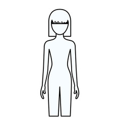 Sketch silhouette of faceless front view woman vector