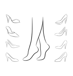 Vector silhouette of feet and shoes vector