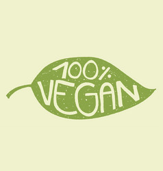 vegan leaf stamp vector image