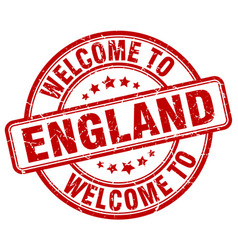 Welcome to england red round vintage stamp vector