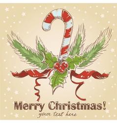 Cute Christmas hand drawn ink retro postcard vector image