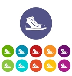 Athletic shoe set icons vector