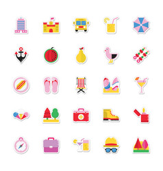 Summer and holidays icons 13 vector