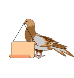 A pigeon holding a big blank paper in his beak vector
