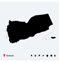 High detailed map of yemen with navigation pins vector