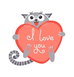 Cute cartoon ginger cat with heart and declaration vector